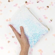 Iridescent White Sparkly Glitter Bridal Clutch bag