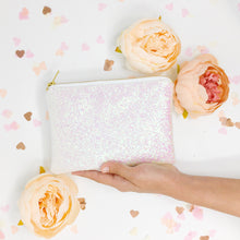 White Pink Glitter Bridal Clutch Bag