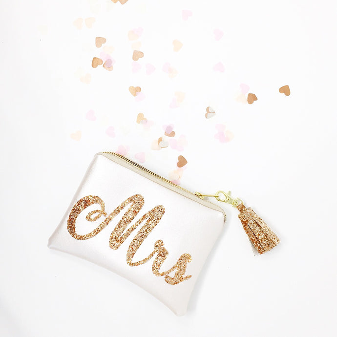 Nude Faux Leather Mrs Clutch Bag with Rose Gold Lettering and Rose Gold Tassel