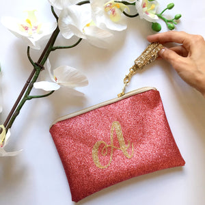 Monogrammed Clutch Bag with Tassel