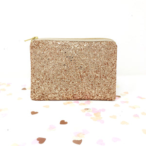 Sparkly Rose Gold Glitter Purse