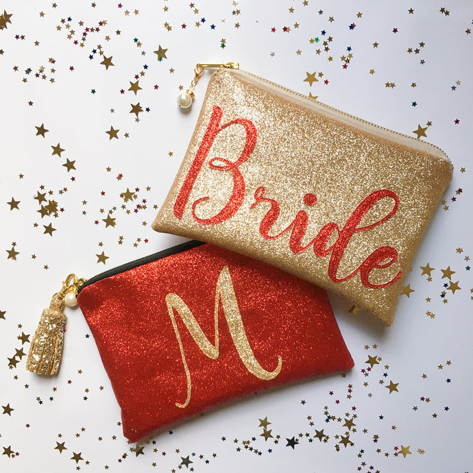 Shimmer Glitter Personalised Bridal Clutch Bag