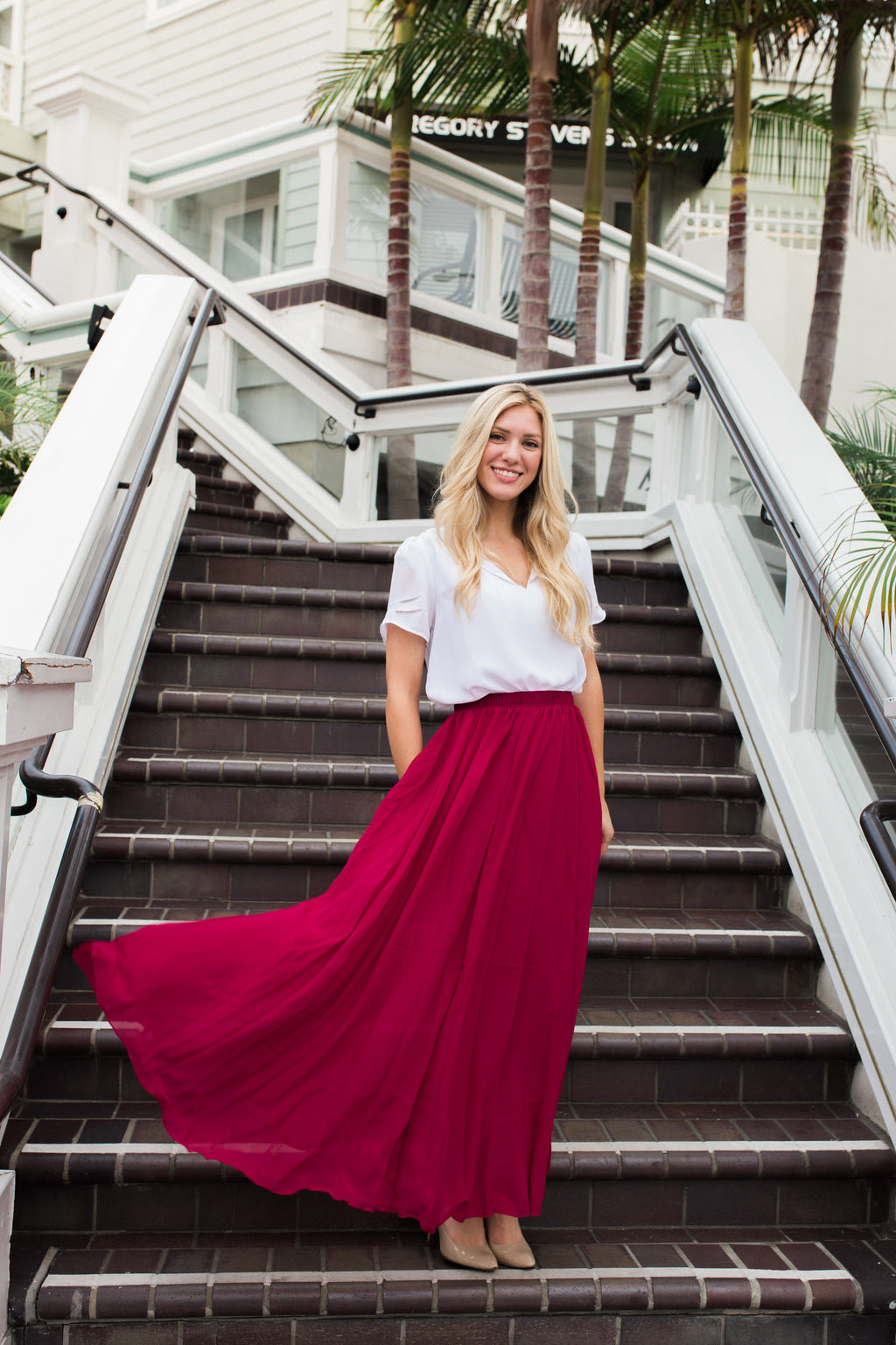 Chiffon Maxi in Wine Red