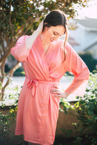 Coral Lace-Sleeve Robe