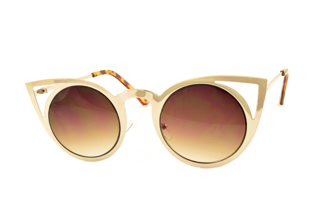 Gold Cateye Metal Sunglasses