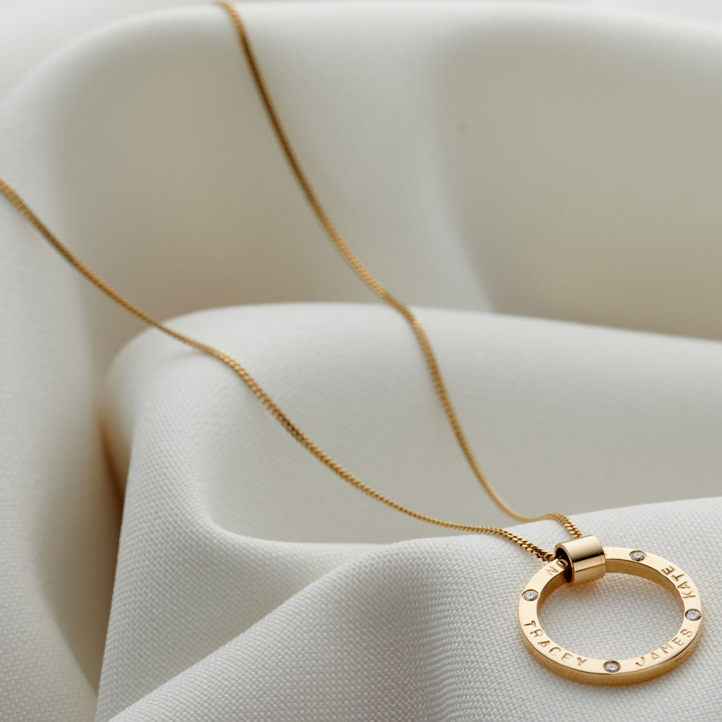 Personalised 9ct Yellow Gold & Diamond Circle Necklace