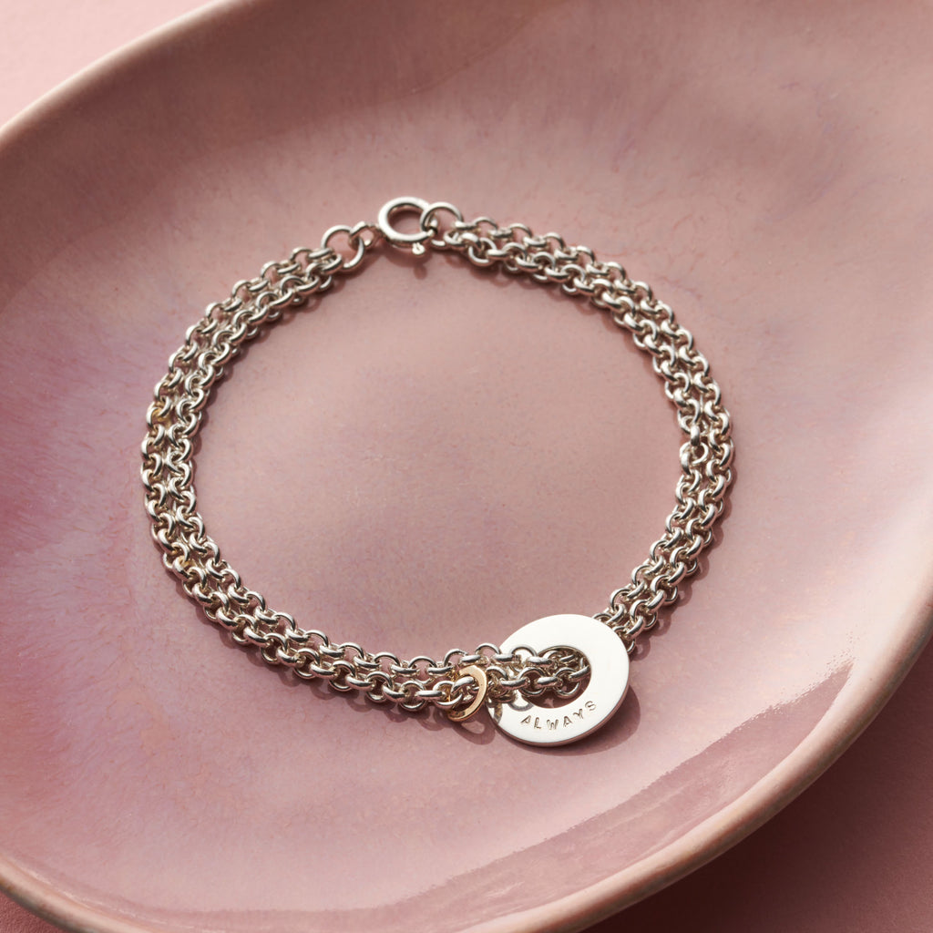 Personalised Double Strand Circle Bracelet with 9ct Gold