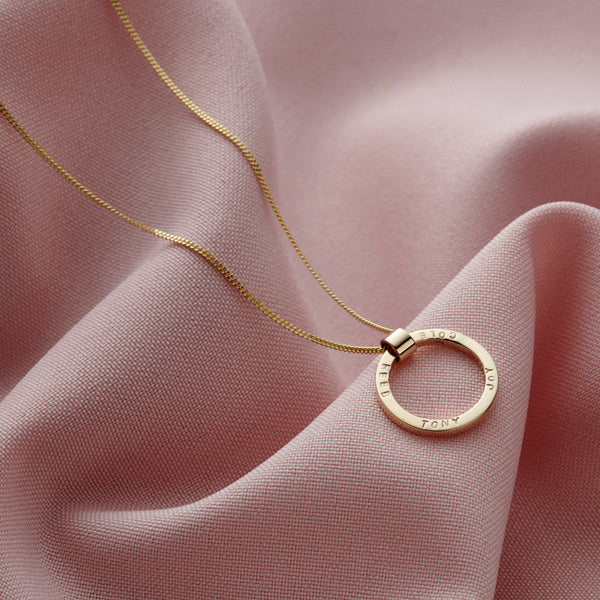 Personalised 9ct Yellow Gold Circle Necklace
