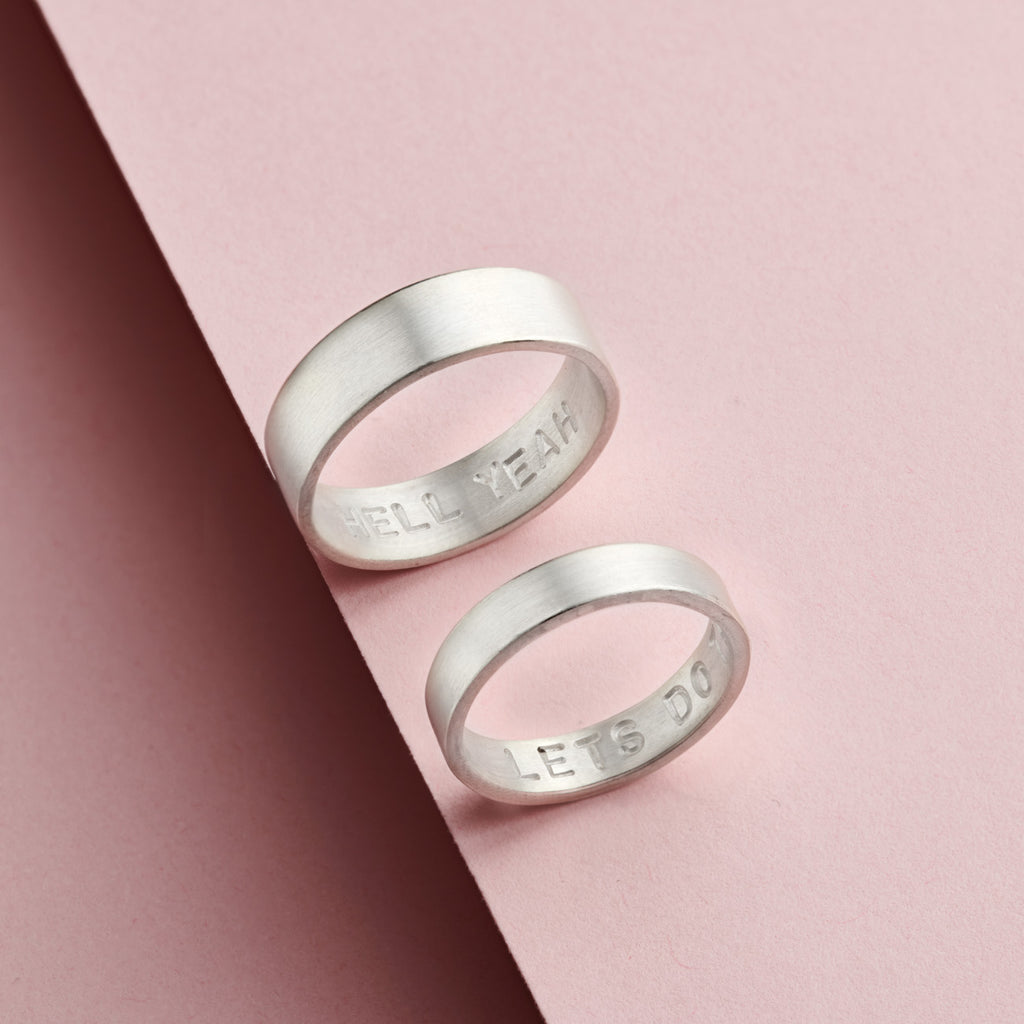 personalises silver his and hers rings