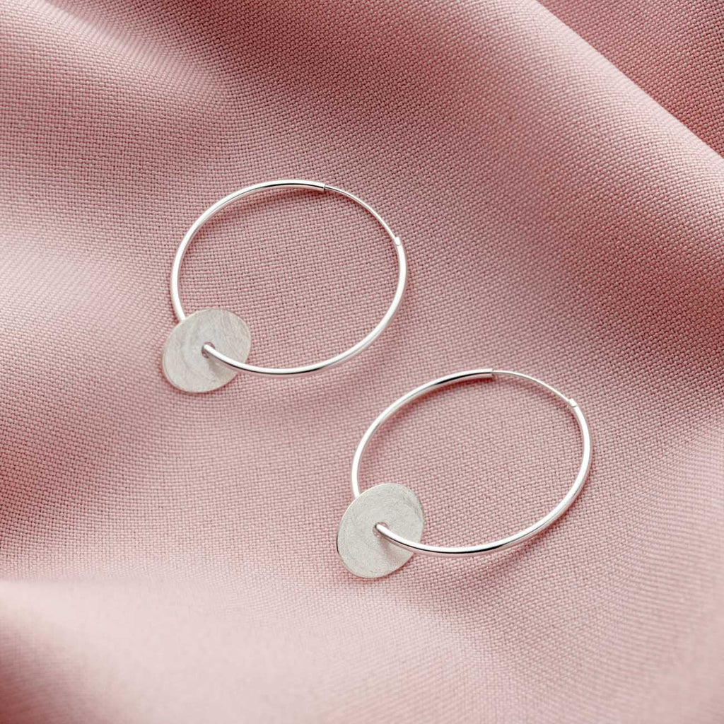 Large Sterling Silver Hoop Nugget Earrings