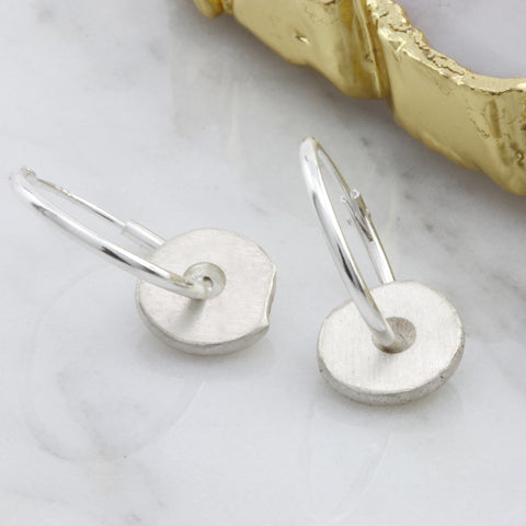 Sterling Silver Hoop Nugget Earrings