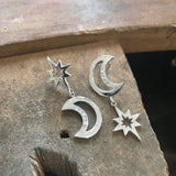 personalised moon and stars earrings