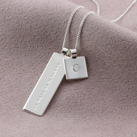 Personalised Initial Charm Necklace with a mantra.