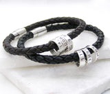 Personalised Leather Bracelet with Silver Hoops