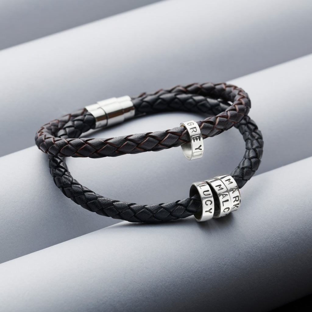 Personalised Mens Leather Bracelet with Silver Hoops