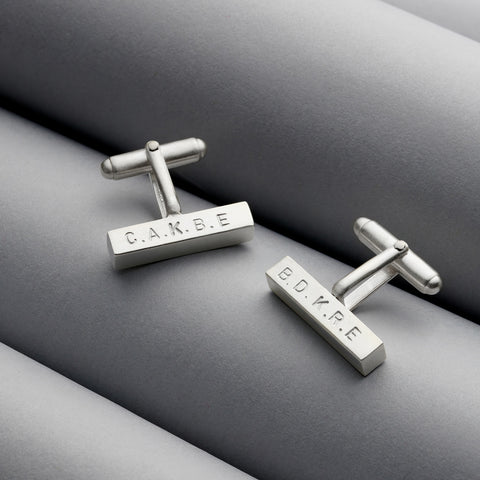 Classic Personalised Silver Bar Cufflinks