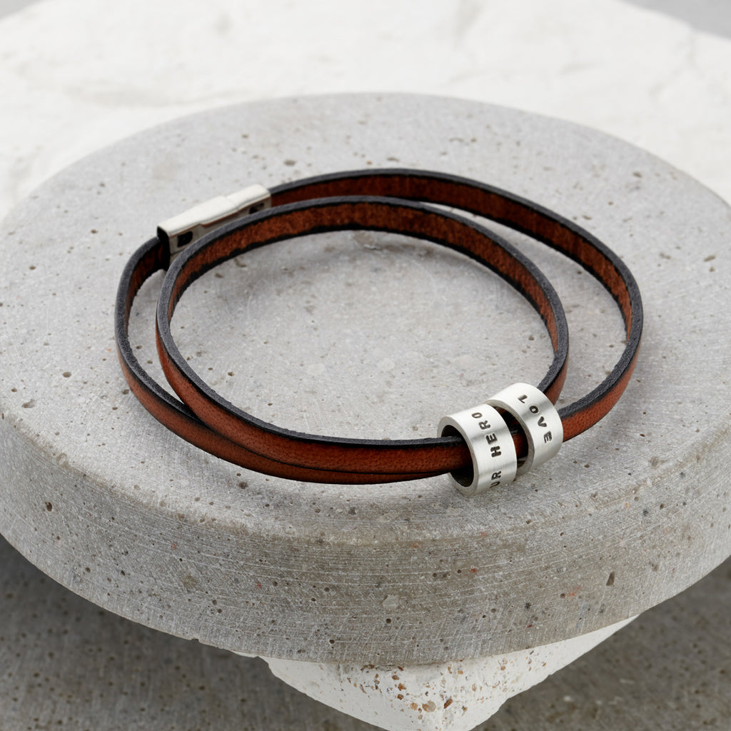 Personalised Italian Leather Hoop Bracelet