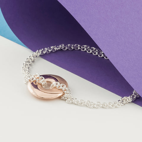 Mobius Infinity Personalised Rose Gold & Silver Bracelet