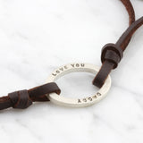 Personalised Leather Mens Oval ID Bracelet