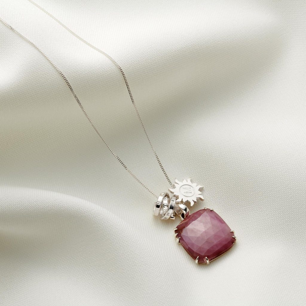 Personalised Pink Sapphire Charm Necklace