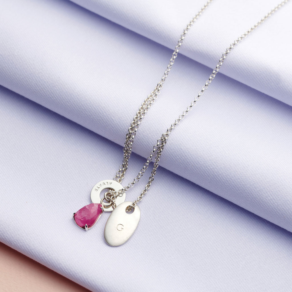 Personalised Tourmaline Charm Necklace