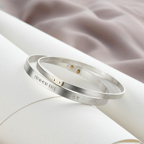 Personalised Silver & Gold Riveted Bangle