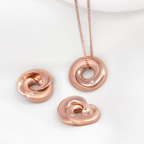Rose Gold Personalised Mobius Necklace with Diamonds