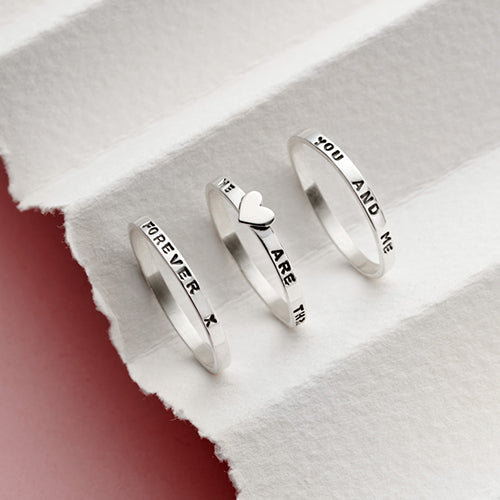 Sterling Silver Heart Stacking Rings