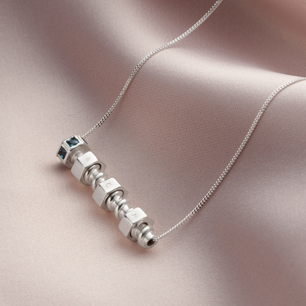 Personalised Silver & Gemstone Family Nut & Bolt Necklace