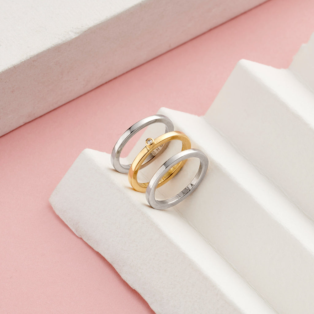 Personalised Yellow/White Gold Stacking Ring