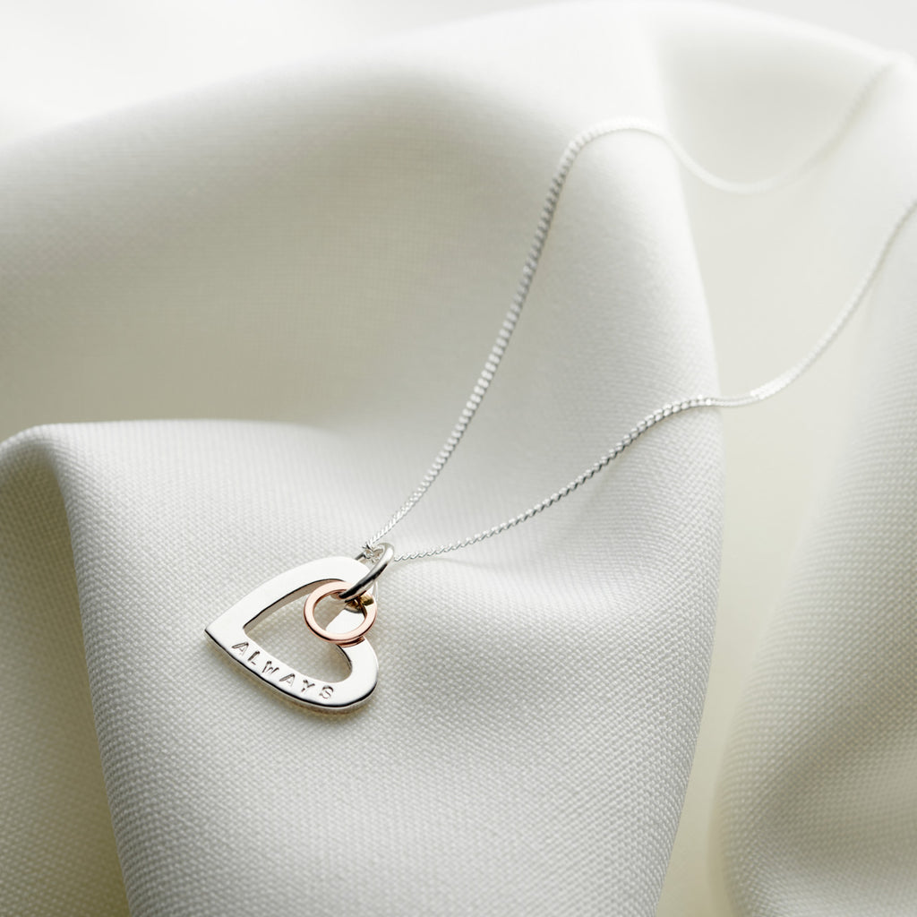 Personalised Silver & Rose Gold Heart Necklace