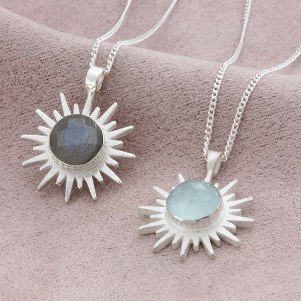 Silver Sun Necklace Gemstone