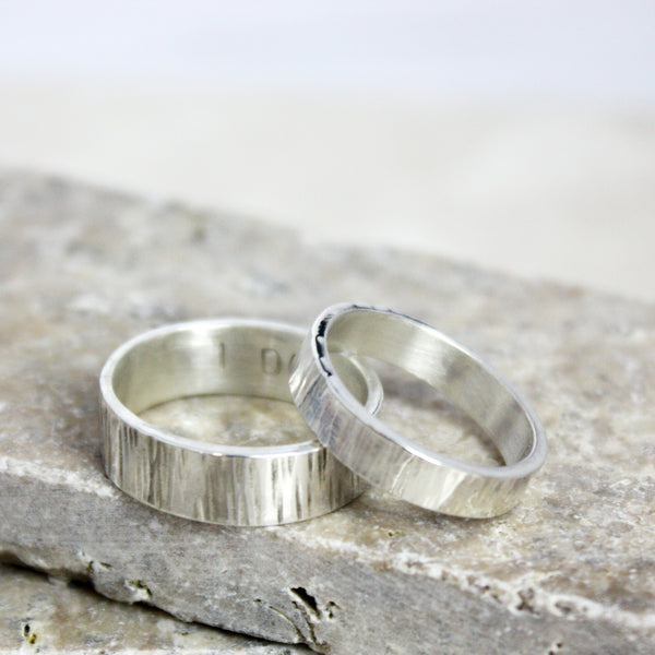 Personalised Silver Matching Bark Rings - Soremi Jewellery