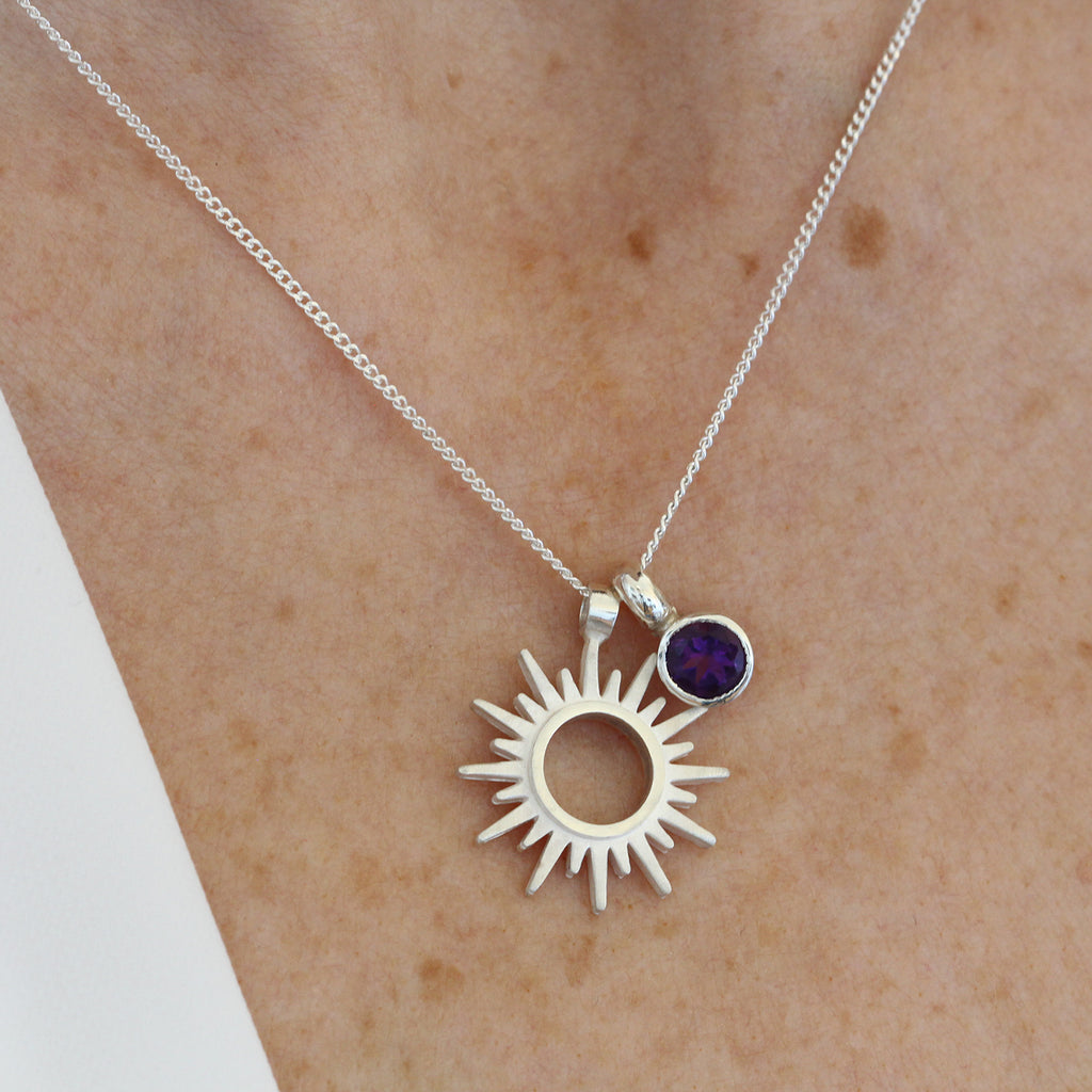Personalised Birthstone Silver Sun Necklace