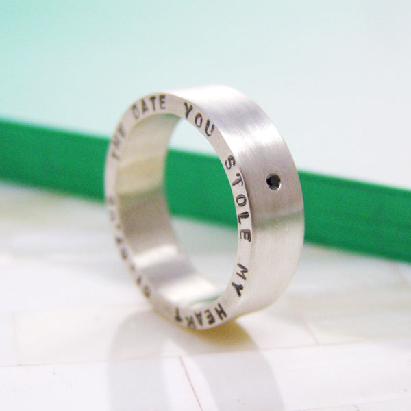 Chunky Personalised Black Diamond Ring - Soremi Jewellery