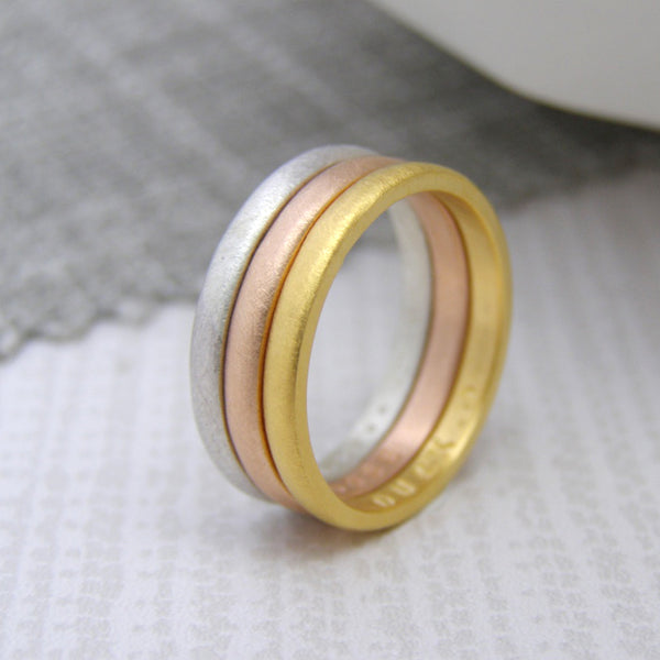 9ct Gold Personalised Stacking Rings - Soremi Jewellery