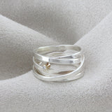 Silver & Gold Diamond Scroll Ring