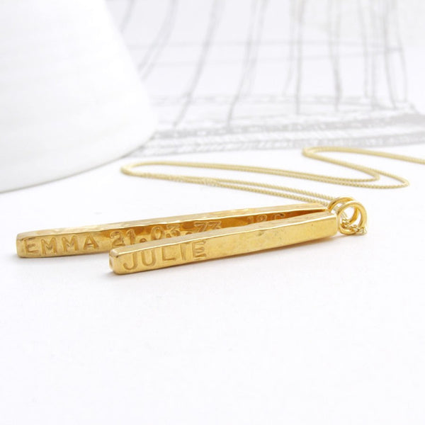 Personalised solid gold bar necklace - Soremi Jewellery