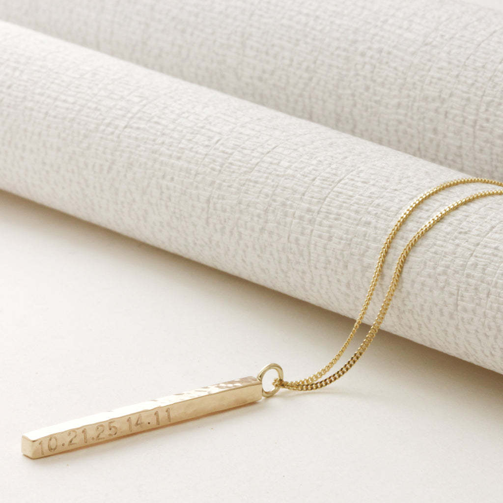 classic solid gold bar necklace
