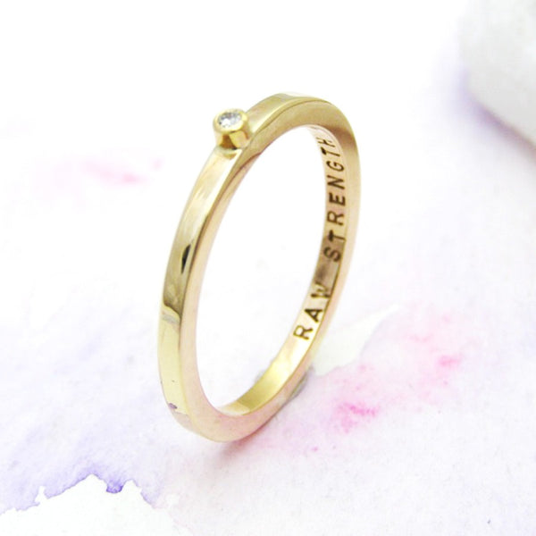 Personalised 9ct Yellow Gold Diamond Ring - Soremi Jewellery