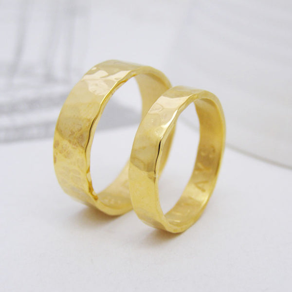 Personalised Hammered Gold Wedding Rings - Soremi Jewellery