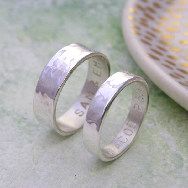 His & Hers Silver Personalised Rings - Soremi Jewellery