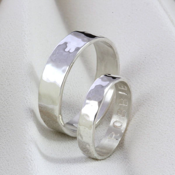 His & Hers Silver Personalised Rings