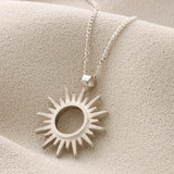 unique silver sun necklace for her