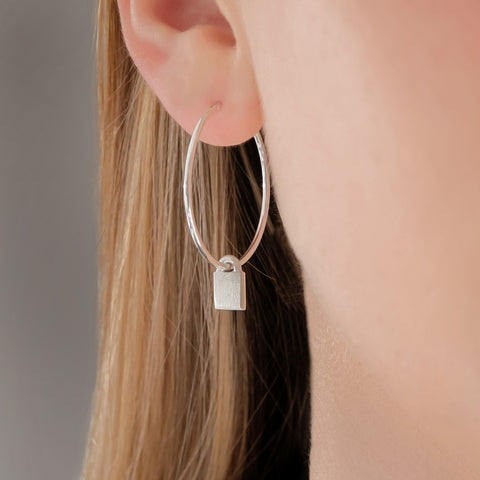 Silver Padlock Hoop earrings