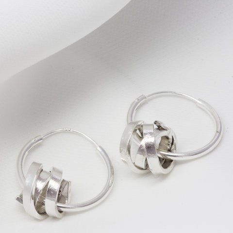 Silver Hoop Scroll Earrings (Small)