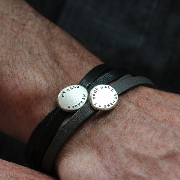 Contemporary Mens Leather and Silver bracelet