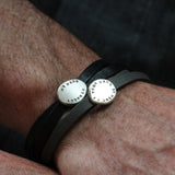Mens Nappa Leather Personalised Adjustable Nugget Bracelet