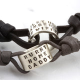 Personalised Mens Story Bead on Nappa Leather