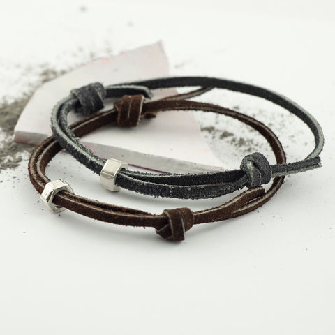 Personalised Men's Suede Nut Bracelet